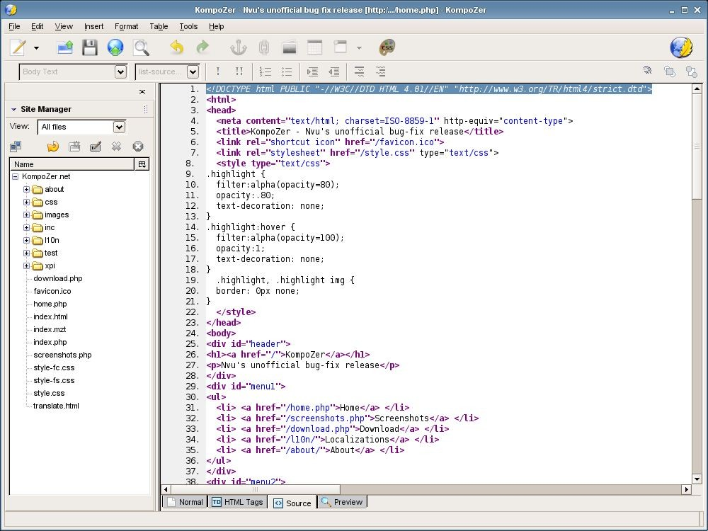KompoZer - HTML Editoru