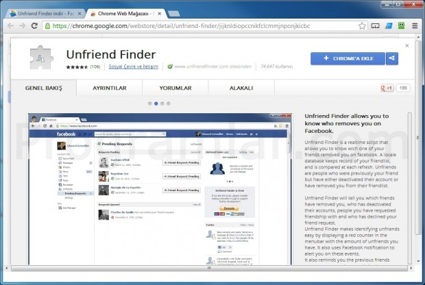 Unfriend Finder - Chrome Eklentisi Yukleme Ekrani