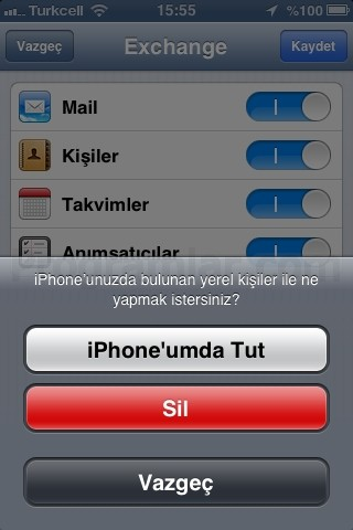 iPhone ve iPad Mail Ayarları - Exchange server silme uyarisi