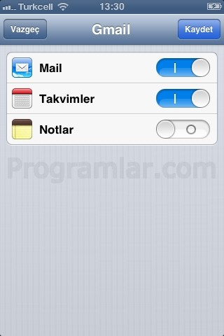iPhone ve iPad için Gmail Ayarlari - Esitleme Ayarlari