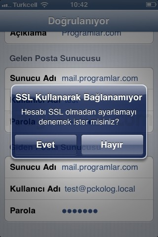 iPhone ve iPad için POP3 ve IMAP Mail Ayarlari -SSL Uyarisi