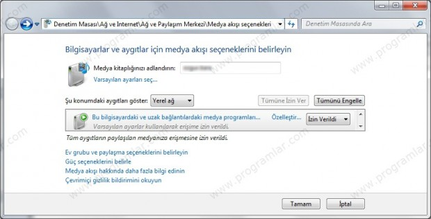 Windows Media Player\\\ da DLNA Özelli%u011Fini Açmak