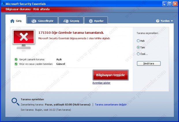Microsoft Security Essentials Türkçe