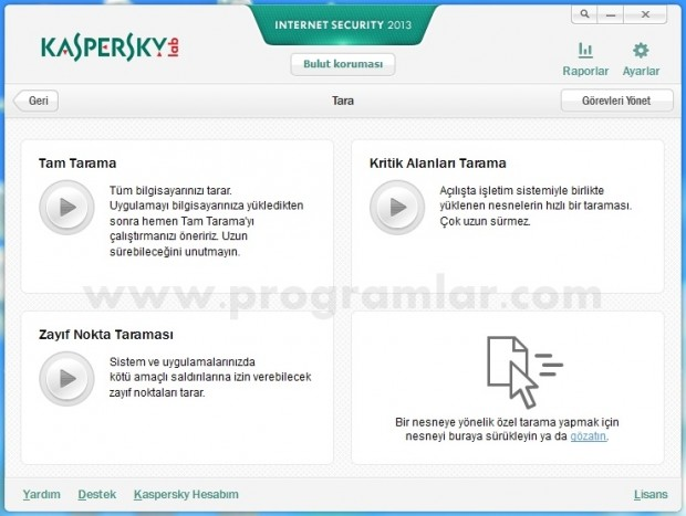 Kaspersky Internet Security 2013 tarama