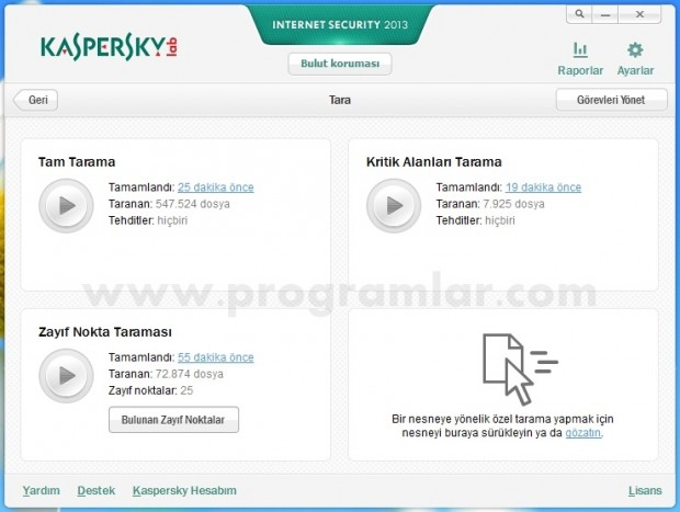 Kaspersky Internet Security 2013 tarama sonucu