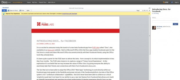 Microsoft Office Facebook\ a geliyor